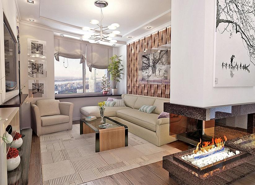 3D визуализация Дизайн интерьера квартиры стиль Эко 1