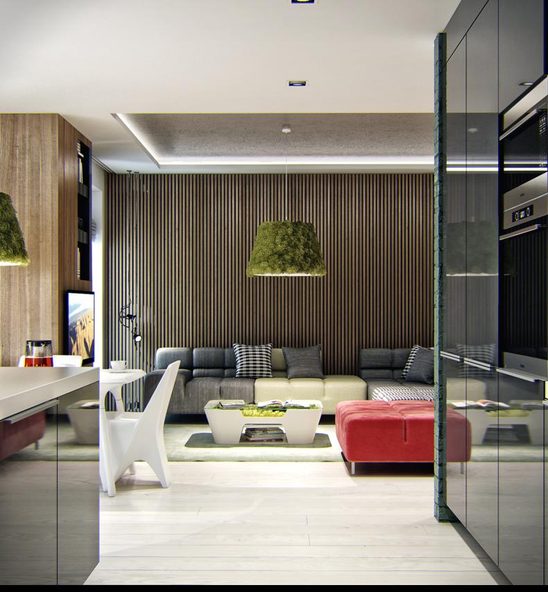 3D визуализация интерьера квартиры с элементами Эко стиля 1